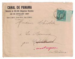 1887 - LETTRE ENTETE CANAL DE PANAMA CAD LYON LES TERREAUX AFFRANCHIE SAGE 5c VERT Pour LA DROME - Marcophilie (Lettres)