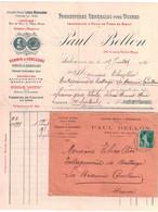 1912 - LETTRE + FACTURE ILLUSTRÉE ENTETE PAUL BELLON BERGERON HUILES CAD SALON PROVENCE AFFRANCHIE SEMEUSE 5c DROME - Storia Postale