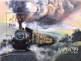 South Africa RSA 1999 Railways Trains Train Steam Locomotives Transport SAPDA World Stamp Philatelic Exhibition S/S - Philatelic Exhibitions