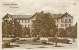 CPA Croatie Croatia Zagreb Sveuciliste L'université Signée Eugène Herzog Postée Depuis Zagreb Timbres - Kroatië