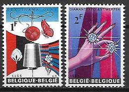 BELGIQUE     -  1965.   Y&T N° 1313 / 1314 *.  Textile  /  Diamants - Belgique