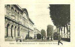 """1950 """" TORINO-C.SO V. EMANUELE II-STAZIONE PORTA NUOVA-TRAM-CARRETTI """" CARTOLINA POSTALE ORIGINALE NON SPEDITA - Stazione Porta Nuova"""