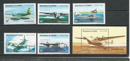 CONGO Scott 1067-1071 1072 Yvert 997A-997E BF61A (5+bloc) ** Cote 10,50 $ 1994 - Congo - Brazzaville