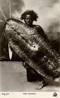 Sudan, Native Nuer Warrior, Shield And Spear (1930s) RPPC Postcard - Sudan