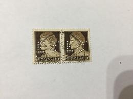 REGNO D'ITALIA FRANCOBOLLO IMPERIALE CENTESIMI 10 DOPPIA COPPIA PERFIN - 1900-44 Victor Emmanuel III.