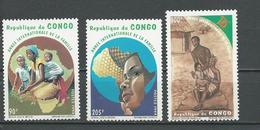 CONGO Scott 1072-1074 Yvert 998-1000 (3) ** Cote 6,90 $ 1994 - Congo - Brazzaville