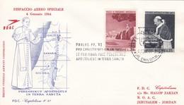 Dispaccio Aereo Speciale 4. Gennaio 1964. B.O.A.C. 443 + 442, Pilgerfahrt Des Papstes - Poste Aérienne