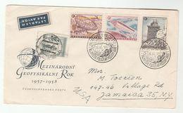 1957 CZECHOSLOVAKIA FDC Geophysical METEOROLOGY TATRA Station SPUTNIK Space OBSERVATORY TELESCOPE Radio Astronomy Cover - Climat & Météorologie