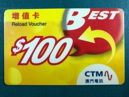 MACAU - BEST RELOAD VOUCHER PHONE CARD - Macau