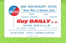 """Carte De Visite   (dos Carte De Fidélité)  Les Routiers """"Cheval Blanc Et Commerce Réunis """" Guy Bailly S.a. 86480 ROUILLE - Visiting Cards"""