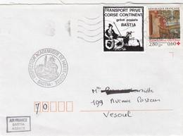 FRANCE LETTRE AFFRANCHIE AVEC LE TIMBRE DE GREVE TRANSPORT PRIVE CORSE CONTINENT GREVE  BASTIA / 7700 - Strike Stamps
