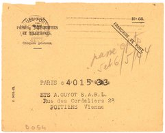 CHEQUES POSTAUX PARIS 1944   Oblit. Frankers-Secap 5 L.d. Petit Simple Cercle.,  Petit Simple Cercle - Marcophilie (Lettres)