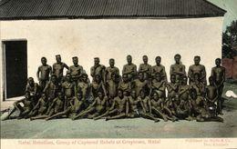 South Africa, NATAL Rebellion, Captured Rebels At Greytown (1906) Postcard - South Africa
