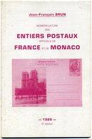 France + Monaco   Entiers Postaux    J F Brun   1989 - Postal Stationery