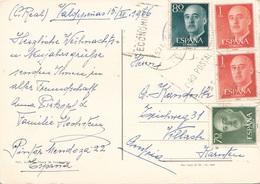 4 Fach Frankierung Auf Ak VALDEPERIAS 1966 - 1850-68 Königreich: Isabella II.