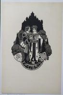 Ex-libris Illustré Belgique XXème - Sigle ABCDE (Association Belge Des Collectionneurs D'Ex-Libris) - Femmes Lisant - Ex-libris