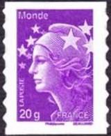 France Marianne De Beaujard Autoadhésif N°  593 Au Modèle 4568 ** Le TVP Violet 20 Grs Monde. Bonnet Phrygien. Etoile - 2008-13 Marianne (Beaujard)