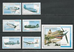 CONGO Scott 1127-1132 1133 Yvert 1026N-1026T BF63B (6+bloc) ** Cote 13,00 $ 1996 - Congo - Brazzaville