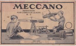 MECCANO Catalogue N°0 Instructions Pour L'emploi De La Boîte Nr 0 - 8 Pages Illustrées. Année 1913 - Meccano
