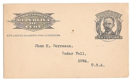 Repubic Of Cuba 1c Marti Postal Stationery Card Habana To USA 1926 - Lettres & Documents