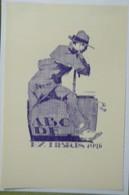 Ex-libris Illustré Belgique XXème - Sigle ABCDE (Association Belge Des Collectionneurs D'Ex-Libris) - Homme Assis - Ex-libris