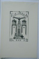 Ex-libris Illustré Belgique XXème - Sigle ABCDE (Association Belge Des Collectionneurs D'Ex-Libris) - Crane, Chouettes - Ex Libris