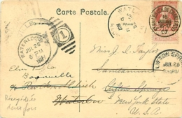CPI  TP 74  Bruxelles > Clifton Springs (USA) 1907 Réexpédiée > Waterloo Réexpédiée > Boonville - 1905 Grosse Barbe