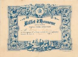 BILLET D'HONNEUR DE L'ECOLE CHETIENNE Délivré Par Le Frère Directeur - Couleur Bleu - 1893/1894 - Diplômes & Bulletins Scolaires