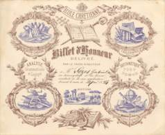 BILLET D'HONNEUR DE L'ECOLE CHETIENNE Délivré Par Le Frère Directeur - Couleur Marron / Mauve - 1894 - Diplômes & Bulletins Scolaires