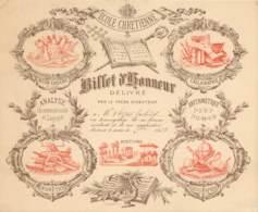 BILLET D'HONNEUR DE L'ECOLE CHETIENNE Délivré Par Le Frère Directeur - Couleur Marron / Oranger - 1893 - Diplômes & Bulletins Scolaires