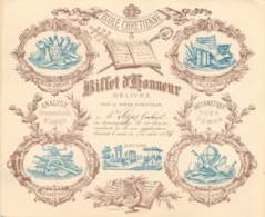 BILLET D'HONNEUR DE L'ECOLE CHETIENNE Délivré Par Le Frère Directeur - Couleur Marron / Bleu - 1893/1894 - Diplômes & Bulletins Scolaires