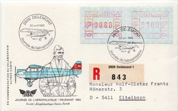 Postal History: Switzerland Registered Cover With Automat Stamps And Aerophilatelia Cancel - Airplanes
