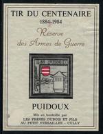 Rare // Etiquette De Vin // Militaire // Puidoux, Tir Du Centenaire 1884-1984 - Militaire