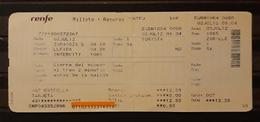 2012 RENFE ESPAÑA. TICKET INTERCITY ZARAGOZA - LLEIDA. - Chemins De Fer