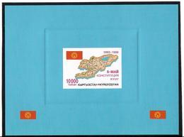 Kyrgyzstan.1998 Constitution (Map,Flag). Imperf S/S: 10000 Michel # BL 18 (167) - Kirgisistan