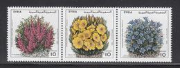 1995 Syria Intl Flower Show Strip Of 3 MNH - Siria
