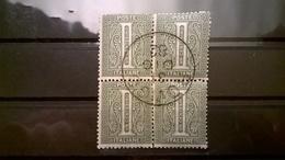 FRANCOBOLLI STAMPS ITALIA ITALY REGNO 1863 CIFRA SERIE NUMERALE DE LA RUE QUARTINA ANNULLO ROVIGO 1882 - 1861-78 Vittorio Emanuele II