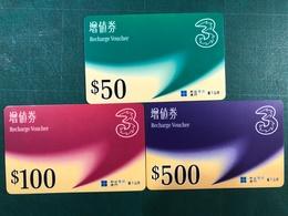 MACAU - HUTCHISON RECHARGE VOUCHER CARD WITH 3 DIFFERENT VALUE - Macau