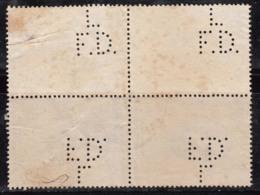 Perfin Block Of 4,  Perfins, Sri Ramakrishna Paramahamsa, Hindu Mystic And Saint, Hinduism, India Used 1973 - Hinduism