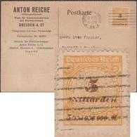 Allemagne 18.11.1923. Carte Timbrée 5 Milliards De Marks, Timbre Perforé Michel 327B. Entreprise De Moules à Chocolat - Alimentation