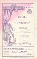 Ville De Valence - Programme Officiel De L'Opéra Municipal, Saison 1925-26 - Directeur Ch. Bernard, Artistes - Programs