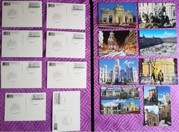 ESPAÑA SPAIN CORREOS 2012 MADRID 8 TARJETAS POSTALES ENTERO POSTAL CARD TURÍSTICAS CON FRANQUEO TARIFA B MATASELLADAS - Enteros Postales