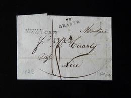 LETTRE DE GRASSE POUR NICE - CACHET NIZZA  -  1823  - - Marcophilie (Lettres)