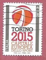 ITALIA REPUBBLICA USATO - 2015 - Torino Capitale Europea Dello Sport 2015 - € 0,80 - S. 3547 - 2011-...: Afgestempeld