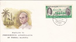 Paulus VI PEREGRINUS APOSTOLICUS IN TERRA SANCTA, Stempel: 4.JAN.1964. AMMAN AIR PORT - Jordanie
