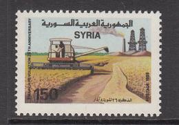 1989 Syria Revolution Day Wheat Fields Combine Harvester Set Of 1 MNH - Siria