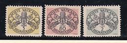 1946 Vaticano Vatican SEGNATASSE  POSTAGE DUE 5c+80c+2L Righe Larghe Carta Bianca MNH** - Segnatasse