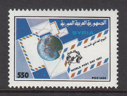 1991 Syria World Post Day Globe, Letters Set Of 1 MNH - Syrie