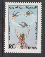 1994 Syria World Post Day Girl Swallow Carrying Letters Set Of 1 MNH - Syrie