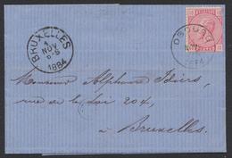 """émission 1883 - N°38 Sur LAC Obl Simple Cercle """"Obourg"""" 1/11/84 Vers Bruxelles. TB - 1883 Léopold II"""